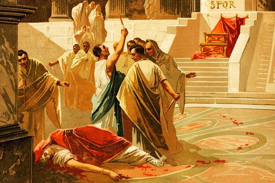 Death of Gaius Julius Caesar, Roman emperor. 100 B. C.-44 B.C. Antique illustration. Book of history. 1897.