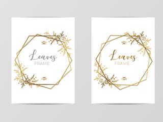 Luxury Golden Modern Geometric Floral Frame for Invite, wedding, certificate