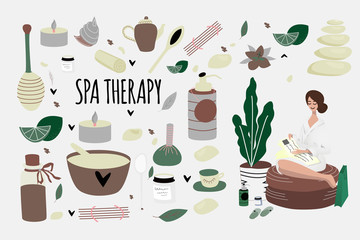 Set of doodle spa elements and  woman reading magazine after aromatherapy, honey therapy, body care, Thai massage, meditation. Beauty salon, wellness center poster, banner. Vector illustration.