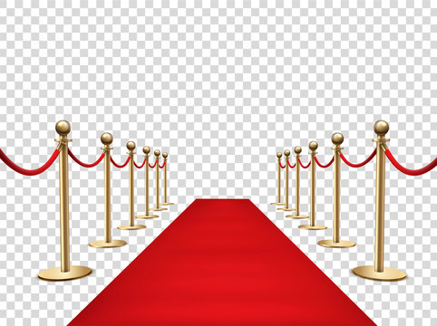 Red carpet and golden barriers realistic 3d vector illustration
