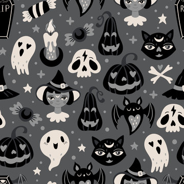 Halloween holiday cute seamless pattern design.