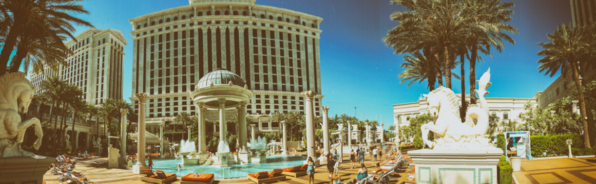 LAS VEGAS - JUNE 27, 2019: Panoramic view of Caesar Palace pools. It is a famous tourist attraction
