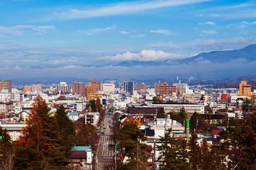 Aizu Wakamatsu City view with moutain in background