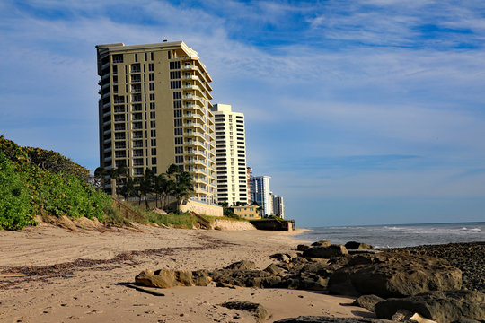 Example of severe beach erosion on Singer Island, Florida, following Hurricane Dorian.  All seaweed has been swept away too.