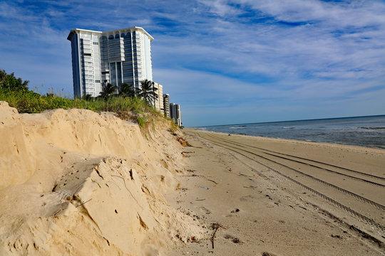 Example of severe beach erosion on Singer Island, Florida, following Hurricane Dorian.  All seaweed has been swept away too.