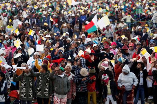 Pope Francis attends a prayer vigil with youth at the Soamandrakizay Mess site in Antananarivo