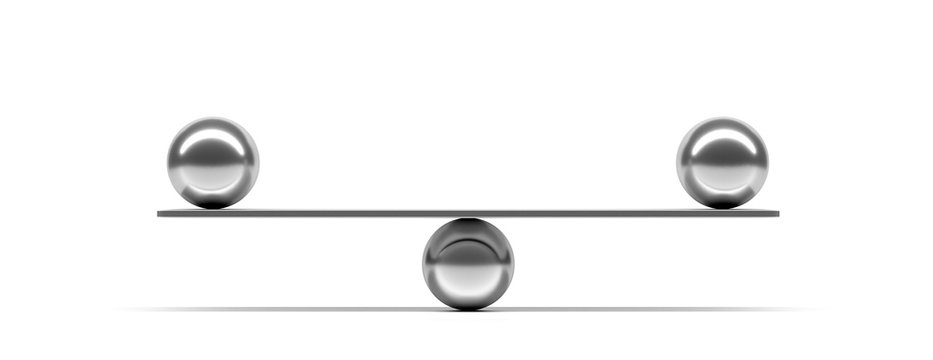 Silver balls balanced on a scale beam, white background, banner. 3d illustration