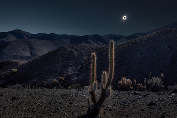 Sun eclipse above desert