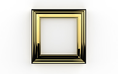 beautiful golden frame 3d illustration on white background