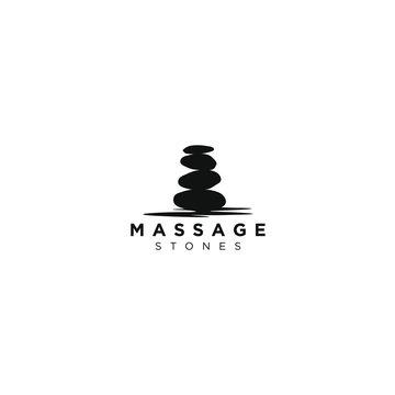 Stone silhouette logo of yoga massage and treatment medical traditioanl