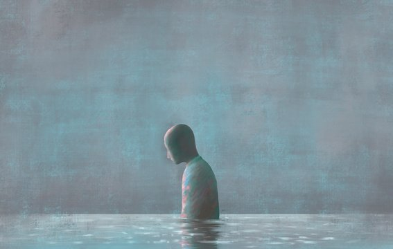 Lonely Human with water reflection, emotion, sadness  loneliness, depression, mental health, fantasy painting, surreal illustration