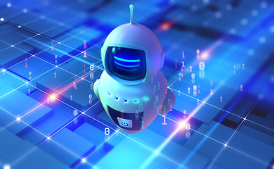 Internet bot in cyberspace. Digital technology and wireless networks. Bot, robot, drone, artificial intelligence 3D illustration
