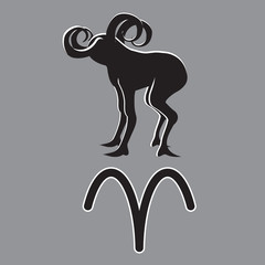 Sign of the zodiac Aries isolated on grey background. Icon design element. Vector illustration.