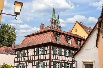 Wall Mural - Historisches Fachwerkhaus mit Dom - Bamberg