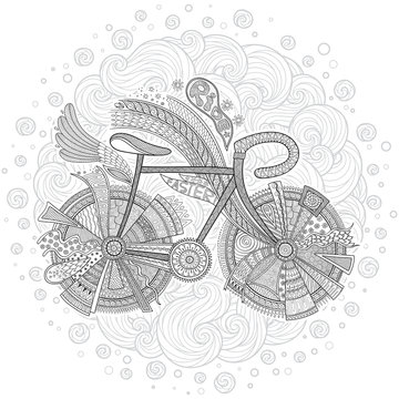 Bike with flower on white background.