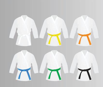 Karate suit and belts set. vector illustration