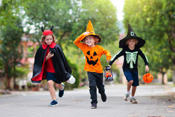 Kids trick or treat. Halloween fun for children. Wall mural
