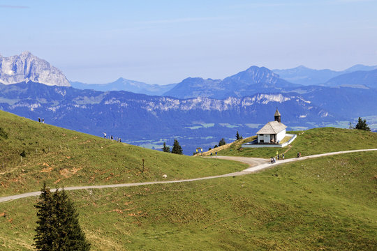 Panoramic view over Kitzbuhel, Austria from the Hahnenkamm mountain