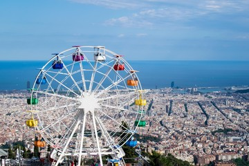 Wall Murals Amusement Park Colourful Ferris Wheel Amusement Park Tibidabo in Barcelona