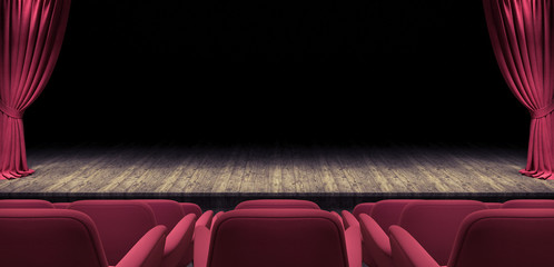 Wooden Stage with open red velvet curtain 3d render 3d illustration