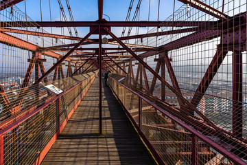 The walkway a the top of  Vizcaya Bridge, the oldest transporter and UNESCO World Heritage Site, Portugalete, Basque Country, Spain