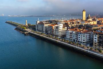 Aerial view of Getxo Las Arenas neighborhood from Vizcaya Bridge (Puente Colgante), Basque Country, Spain