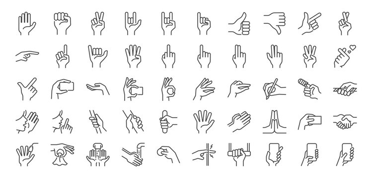 Hand gestures line icon set. Included icons as fingers interaction,  pinky swear, forefinger point, greeting, pinch, hand washing and more.