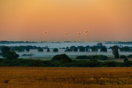 wind turbines and fog