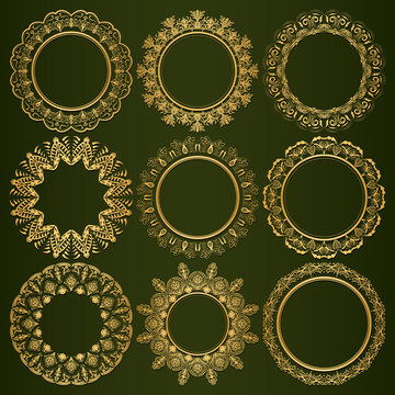 Collection of luxurious round golden frames on a green background. Framing for photos, paintings and mirrors. Decorative decoration for books, cards, invitations. Vector.