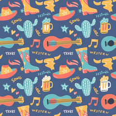 Seamless pattern with country music elements. Music background. Vector flat hand drawn doodle illustration