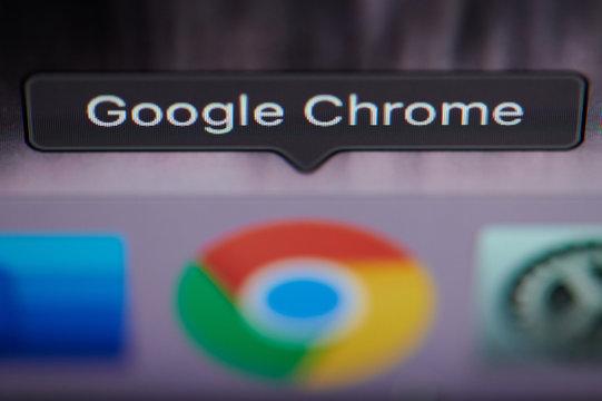 Selecting Google chrome application on computer