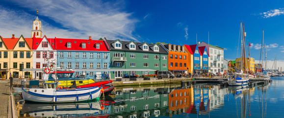 In de dag Noord Europa Torshavn city - the capital of The Faroe Islands, Denmark.