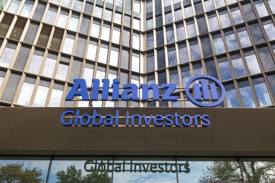 frankfurt, hesse/germany - 11 10 18: an allianz global investors sign on an building in frankfurt germany