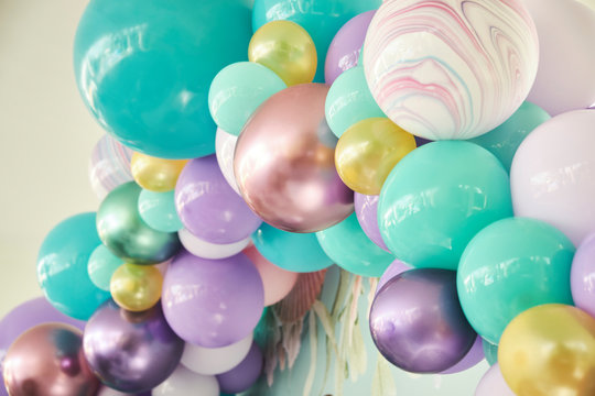 Party decoration with colorful balloons background