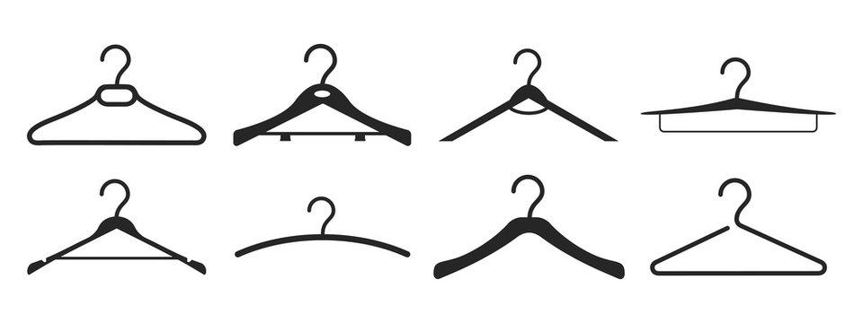 Wooden suit hanger icon set – stock vector