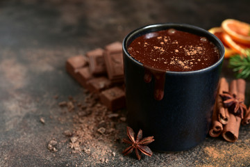 Canvas Prints Chocolate Homemade christmas hot chocolate with orange and spices.