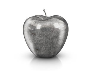 Metal Apple - 3D illustration of an apple fruit made of metal, steel or iron, respecting the texture pattern of a natural apple