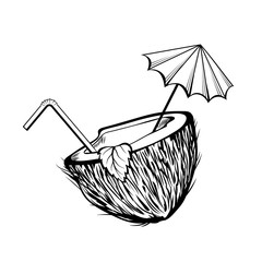 Coconut cocktail black and white illustration. Coco half with umbrella and straw coloring picture. Summer refreshment, summertime recreation monochrome drawing. Exotic drink, tropical beverage