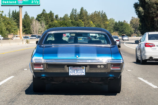 August 23, 2019 Pleasanton / CA / USA - 1970 Chevrolet Chevelle driving on the freeway in San Francisco Bay Area