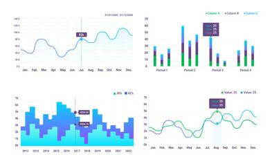 Set of charts. Set of vector elements for design sites