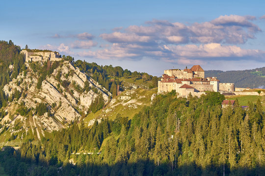 View Of Chateau de Joux, Fort Mahler and The Surrounding Mountains