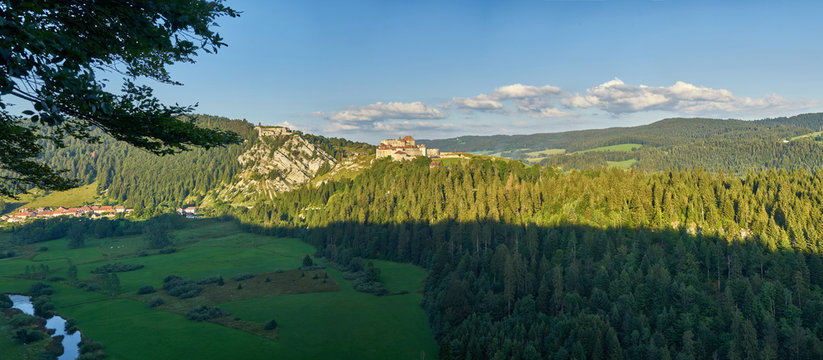 Panoramic View Of Chateau de Joux, Fort Mahler and The Surrounding Mountains Larmont And Doubs River at Sunset