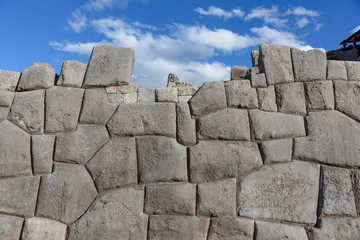 Sacsayhuaman, large fortress and temple complex by the Inca culture in the hills above Cusco, Peru, South America.
