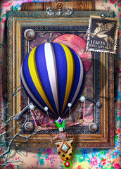 Garden Poster Imagination Background with old fashioned frame and hot air balloon