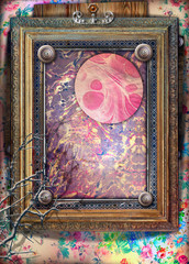 Spoed Fotobehang Imagination Background with old fashioned frame and abstract and psychedelic landscape