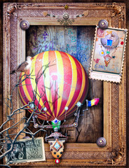 Spoed Fotobehang Imagination Vintage and old fashioned postcard with a steampunk hot air balloon in flight