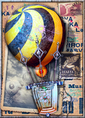 Spoed Fotobehang Imagination Vintage and old fashioned postcard with a steampunk air balloon in flight