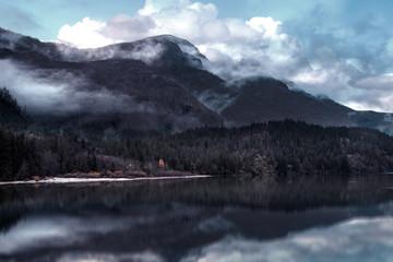 Foto op Canvas Donkergrijs landscape lake fall season , vintage picture style
