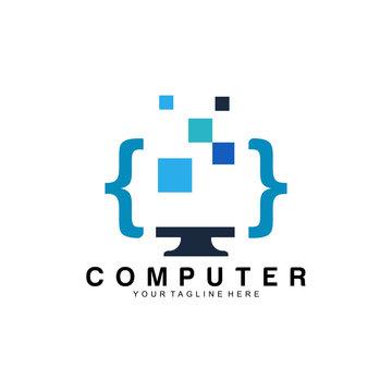 computer technology logo icon vector