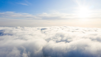 Aerial view White clouds in blue sky. Top view. View from drone. Aerial bird's eye view. Aerial top...
